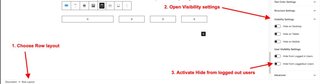 Kadence blocks  visibility settings