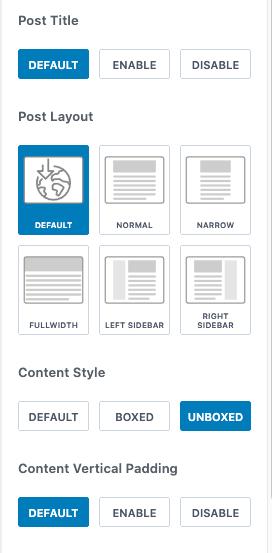 Kadence theme page settings