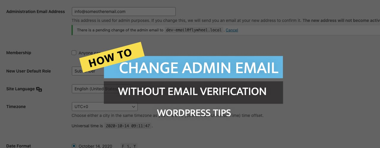 How to Change Wordpress Admin Email Without Confirmation?
