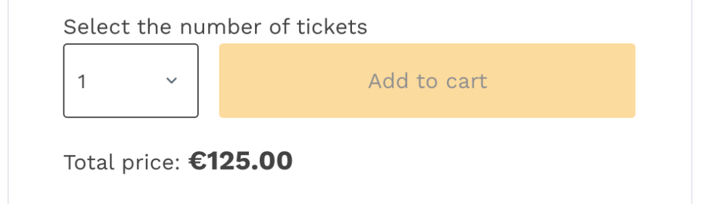 """Add """"Select the number of tickets"""" text above the quantity selector"""